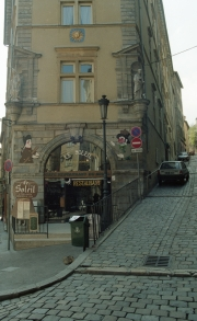 Restaurant and cobbled street