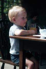 DAVID IN CAFÉ AT HIDCOTE