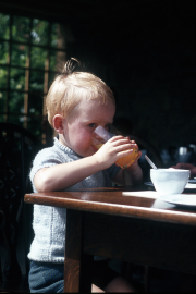 DAVID DRINKING IN CAFÉ AT HIDCOTE