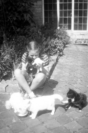 Sue, with cats