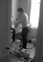 Greta doing the washing