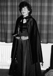Greta in dress and cloak, for the Hospital Ball