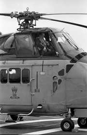 Duke of Edinburgh in the helicopter