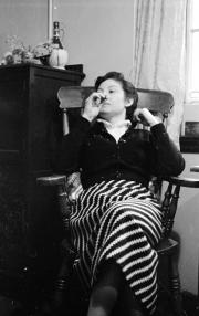 Edith at tea in hostel