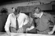 Dave ? & Derek Robinson in paint shop