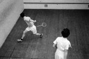 Wal and Trish playing squash