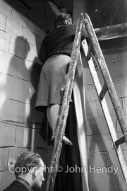 Irene Anderson up ladder