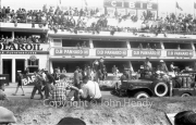 Before the start - in front of the Panhard pits, with the fire vehicle in the foreground