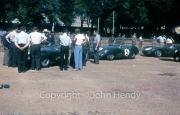 Scrutineering - probably #4 Aston Martin DBR 1/300 (Stirling Moss and Jack Fairman), #5 Aston Martin DBR 1/300 (Roy Salvadori and Carroll Shelby), #7 Aston Martin DBR 1/300 (Graham Whitehead and Brian Naylor)