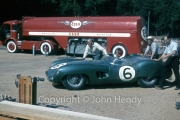 Scrutineering - #6 Aston Martin DBR 1/300 (Maurice Trintignant and Paul Frère), with Reg Parnell and Stirling Moss