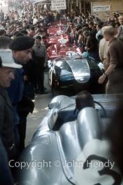 Line of cars in Scrutineering - Porsche, #24 Cooper T 49 Monaco Mk I/ Coventry Climax (Jim Russell and Bruce McLaren), #23 Ferrari Dino 196 S (Giulio Cabianca and Giorgio Scarlatti), #16 Ferrari 250 GT California (Bob Grossman and Fernand Tavano), #14 Ferrari 250 Testa Rossa (Phil Hill and Olivier Gendebien)