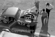 Qualifying - #32 MG-A Twin Cam 1800cc (Ted Lund and Colin Escott) in the pits