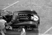 Qualifying - #7 Aston Martin DBR1/300 (Roy Salvadori and Jim Clark) in the pits, engine exposed