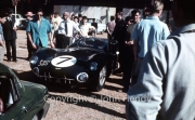 Scrutineering - #7 Aston Martin DBR 1/300 (Roy Salvadori and Jim Clark), with Jim Clark in the blue shirt