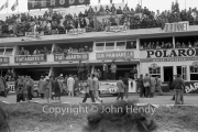 General view of the pits before the race, in front of the Fiat Abarth and Panhard pits