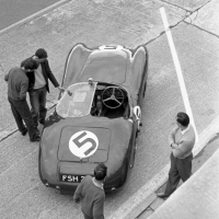 #5 Aston Martin DBR1/300 (Jim Clark and Ron Flockhart) in the pits