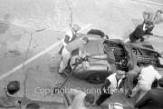 Aston Martin pit stop, refuelling #4 Aston Martin DBR1/300 (Roy Salvadori and Tony Maggs)