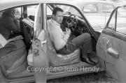 Owen and Bill having a break in the Jaguar