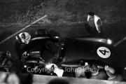 Aston Martin pit stop at night #4 Aston Martin DBR1/300 (Roy Salvadori and Tony Maggs)
