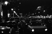 Cars in Paris at night