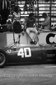 Formula 1 - Ricardo Rodriguez and #40 Ferrari 156 (qualified by Rodriguez and Willy Mairesse, raced by Mairesse) in the pits