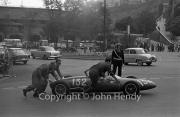 """Formula Junior #132 Lotus 22 - Ford (""""Geki"""" (Giacomo Russo)) being pushed"""