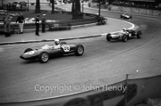 Formula Junior #86 Lotus 22 - Ford/Cosworth (Bob Anderson) and Formula Junior #96 Cooper T59 - Ford/Cosworth (Bill Bradley) in Casino Square