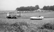 Production Sports Car Race #116 Lotus XI Ford 1172cc. Graham Hill - spun off three times in 4 laps and was black-flagged. Later sold to Ian Waller and fitted with different cylinder head. Won Autosport Series Production Sports Car Championship in 1957. #114 HRG 1489cc, DJ (David) Calvert