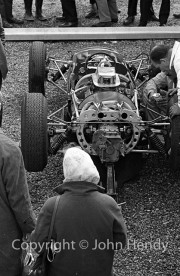 Formula 1 - Lola chassis probably #14 Lola Mk 4 - Climax V8) in the paddock