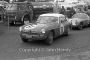 GT cars - #31 MG-B 1790cc (Alan Hutcheson) in the paddock