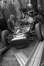 Stripped down Formula 1 car in the paddock