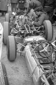 Formula 1 cars without bodywork in the paddock