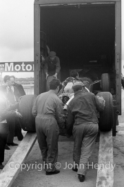F1 Ferrari being taken out of the transporter