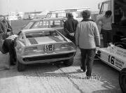 Maserati road car in Theodore Racing paddock Formula Atlantic - #16 March 722 (Vern Schuppan)