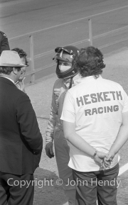 Lord Hesketh and Graham Hill in the pits
