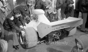 F1 car being wheeled out