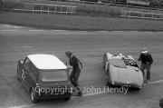 Team #21 Mini 7 Club A, Car C - Cooper-Mini 997cc John Whitmore/Steve McQueen  at the start. Also Team #8 AC Owners/Frazer Nash, Car E - Frazer Nash 1971cc, R.Dilley