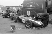 Formula Junior - #34 Cooper T56 - BMC (Tony Maggs) in the paddock. Ken Tyrell car.