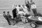 Formula 1 - #9 Lotus 18 - Climax (Jim Clark) in the pits, with drivers
