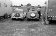 Touring cars Morgan Plus 4's in the paddock (Chris Lawrence's and Richard Shepherd-Barron's cars)