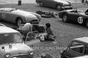 #61 MG-A 1622cc, JG Sharp and #63 Austin Healey 3000, ES Broad, in the paddock. Plus a picnic.