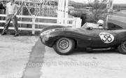 #38 D-Type Jaguar entering paddock. 3442cc (Mike Head)