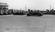 Start of 5 lap handicap. #45 Invicta (Lord Ebury), #31 1937 Lagonda, 4500cc (DD Overy)