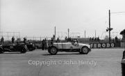 "Start of 5 lap handicap. #68 1924 Hispani Suiza, 8000cc ""White Monster"" (M Scott) Fibreglass body, 1st race. #80 1930 Frazer-Nash, 1496cc (JV Skirrow)"