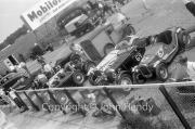 Cars in the paddock - #75 1927 Bugatti, #73 1928 Alfa Romeo, #69 1938 Frazer Nash, #67 1929 Austin