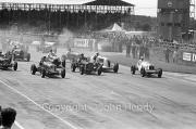 Start of the 50km Scratch Race - #2 1934 Maserati, #3 1936 ERA, #4 1936 ERA, #7 1930 Bentley