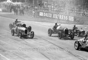 Start of the 50km Scratch Race - #24 1925 Bentley, #18 1926 Bugatti, #27 1922 Delage, #55 1926 Amilcar