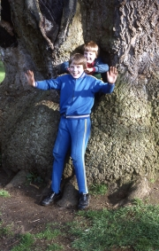David and Simon in the Delapre tree