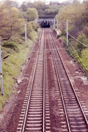 Train line and tunnel