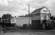 Train and Signal Box at Banbury Lane Crossing